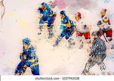 Ice hockey players at rink. Sports illustration
