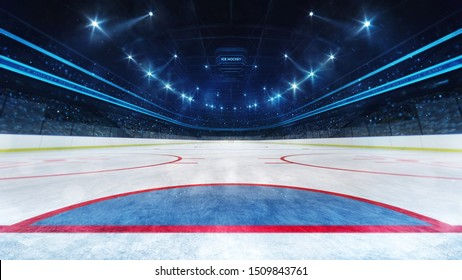 Ice hockey playground and illuminated indoor arena with fans, goal line view, professional hockey sport 3D render illustration background