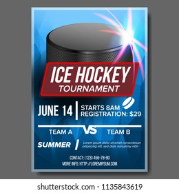 Ice Hockey Poster. Ice Hockey Puck. Vertical Design For Sport Bar Promotion. Hockey Flyer. Winter. Cafe, Bar, Pub Advertising, Invitation Template Illustration