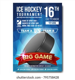Ice Hockey Poster. Sport Event Announcement. Vertical Banner Advertising. Professional League. Event Label Illustration