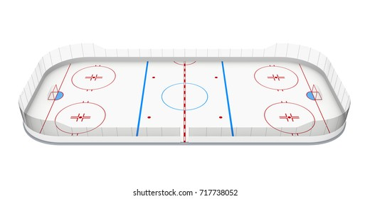 Ice Hockey Rink Isolated. 3D rendering