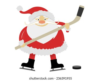 ice hockey Santa Claus with a stick on ice skates