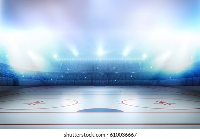 Ice hockey stadium 3d rendering, the imaginary ice hockey stadium is modeled and rendered.
