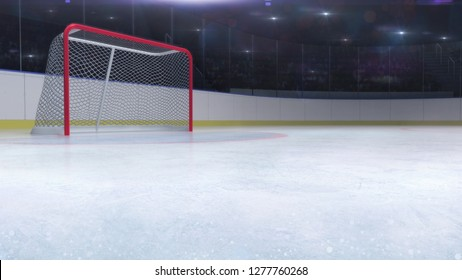 ice hockey stadium with goal red gate and blank copy space front, ice hockey and skating stadium indoor 3D render illustration background