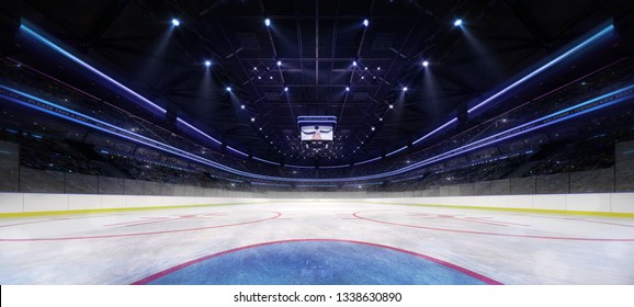 Ice hockey stadium interior goalkeeper view illuminated by spotlights. Hockey and skating stadium indoor 3D render illustration background.
