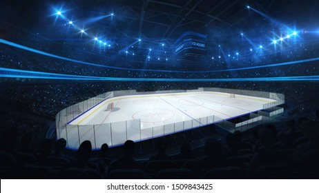 Ice hockey stadium with spotlights and crowd of fans, professional hockey sport 3D render illustration background