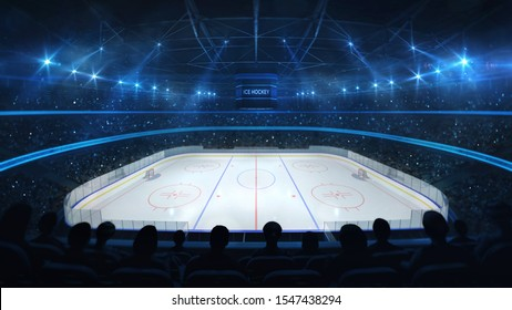 Ice hockey stadium with spotlights and crowd of fans, upper side view, professional ice hockey sport 3D render