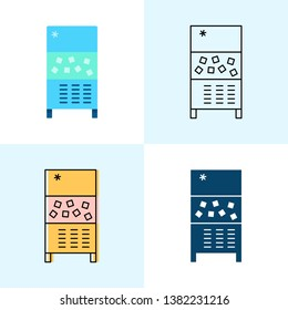Ice maker machine icon set in flat and line styles. Professional restaurant equipment symbols.