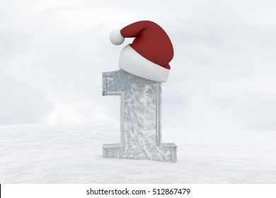 Ice Number 1 with christmas hat 3d rendering illustration