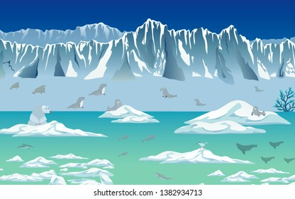 Ice ocean environment Polar iceberg and animals that live on the ice. Concept global warming-illustrations