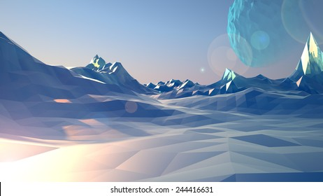 Ice polygon planet, 3D rendering, low-poly model