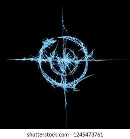 Ice shard target circle shape abstract, horizontal, isolated, over black
