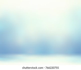 Ice wall and ice floor blurred texture. Empty pale blue background. Winter interior room. 3D illustration. Abstract image. Delicate decor. Cold air.