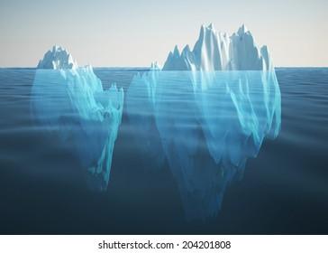 iceberg 3d rendering illustration