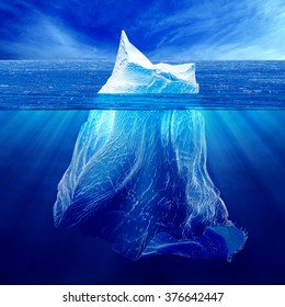 Iceberg above the water and under water. A high resolution.