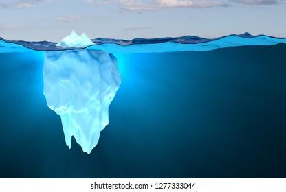 Iceberg, concept / melting poles / 3D render