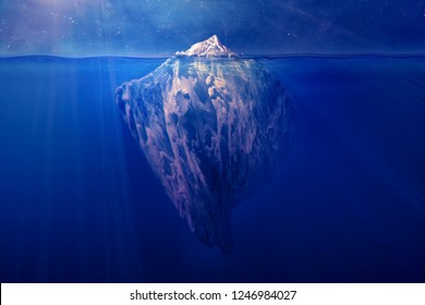 Iceberg floating in the ocean at night with visible underwater part. Global warming, hidden danger, risk management, planning strategy concept. 3D illustration