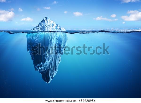 Iceberg - Hidden Danger And Global Warming Concept - 3d Illustration
