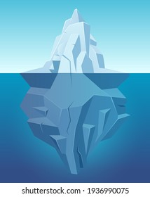 Iceberg in ocean. Big ice white rock in water polar landscape in cartoon style outdoor nature