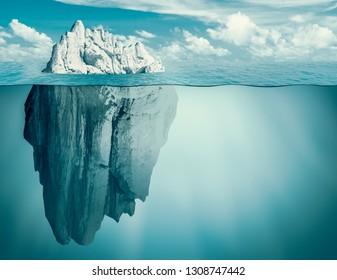 Iceberg in ocean. Hidden threat or danger concept. 3d illustration.