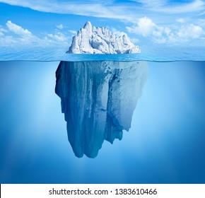 Iceberg in ocean. Hidden threat or danger concept. Central composition.