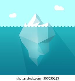 Iceberg in ocean water illustration, big iceberg floating in sea waves with huge underwater part and shadow image