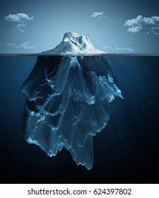 iceberg over and under the water; 3d illustration