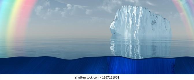 Iceberg and rainbow in sea or ocean. 3D rendering