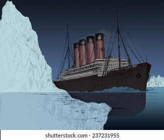 Iceberg tearing a gash in hull of the ocean liner Titanic April 14, 1912, drawing appeared in John Walker's book AN UNSINKABLE TITANIC EVERY SHIP ITS OWN LIFEBOAT published 1912, Modern digital color.