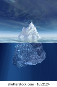 Iceberg under water and above water
