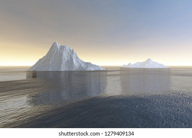 Icebergs, 3d rendering, a polar landscape, reflection in the sea and haze in the sky.