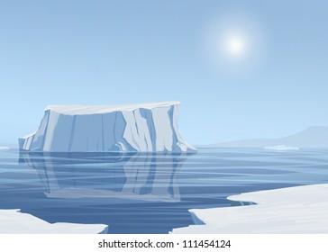 Icebergs Adrift in Ocean Illustration