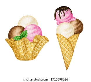 Ice-cream scoops decorated with mint leaf in waffle cone tasty set. Watercolor illustration isolated on white background. Vanilla, Chocolate and Pink raspberry ice cream balls.