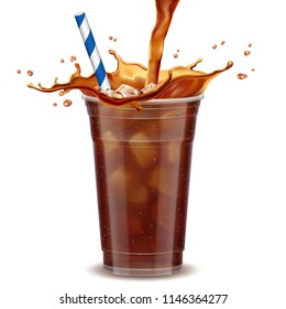 Iced coffee takeaway cup with liquid pouring down into container isolated on white background, 3d illustration