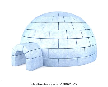 Iced igloo isolated on white background, 3D rendering