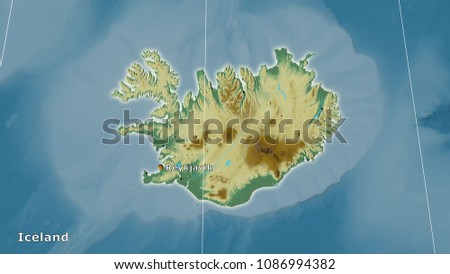 Iceland Area On Topographic Relief Map Stock Illustration 1086994382