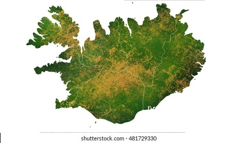Iceland detailed country map visualization