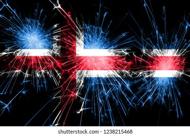 Iceland fireworks sparkling flag. New Year, Christmas and National day concept