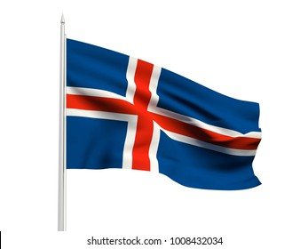 Iceland flag floating in the wind with a White sky background. 3D illustration.