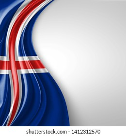 Iceland flag of silk with copyspace for your text or images and White background-3D illustration
