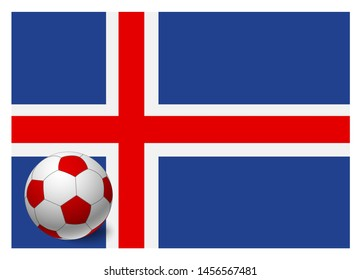 Iceland flag and soccer ball. National football background. Soccer ball with flag of Iceland  illustration