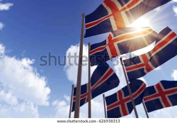 Iceland flags waving in the wind against a blue sky. 3D Rendering