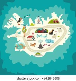 Iceland map landmarks. Handdrawn vector illustration. Landmark of Iceland illustrated travel poster. Church, houses, lighthouse and moss