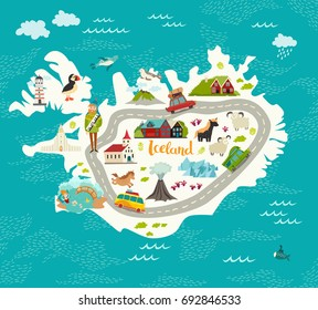 Iceland map vector illustration. Iceland landmarks, road, nature, people and animals