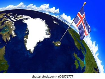 Iceland national flag marking the country location on world map. 3D rendering, parts of this image furnished by NASA