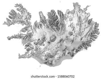 Iceland shaded relief map. Elevation map . Light black and white version.