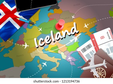 Iceland travel concept map background with planes, tickets. Visit Iceland travel and tourism destination concept. Iceland flag on map. Planes and flights to Icelandic holidays to Reykjavik,Kopavogur