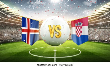Iceland vs Croatia. Soccer concept. White soccer ball with the flag in the stadium, 2018. 3d render