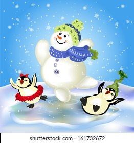 Ice-skating snowman and cute penguins
