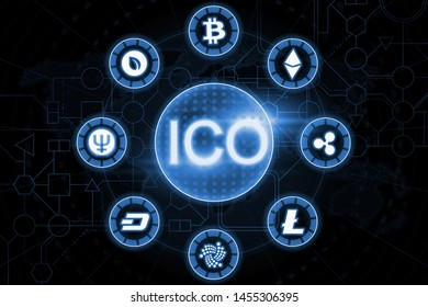 ICO. Initial coin offering. Bitcoin, ripple, dash, etherium and other cryptocurrency.
